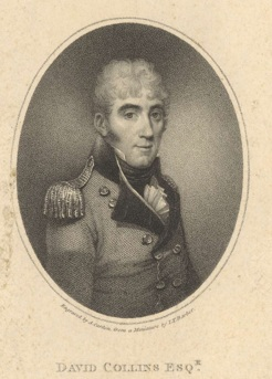 David Collins, engraved by Antoine Cardon from a miniature by John Barber, 1804