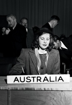 Julia Moore, at the UN General Assembly, 1946 [detail]